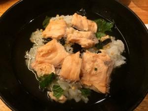 松井さんと夕食をした京都駅のお店で、鮭茶漬け。おいしゅうございました。
